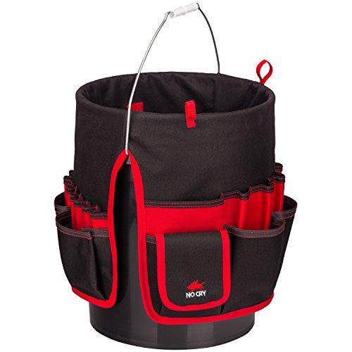 NoCry strapazierfähige Bucket Werkzeugtasche aus Canvas | Werkzeug-Organizer mit 35 Taschen, 5...