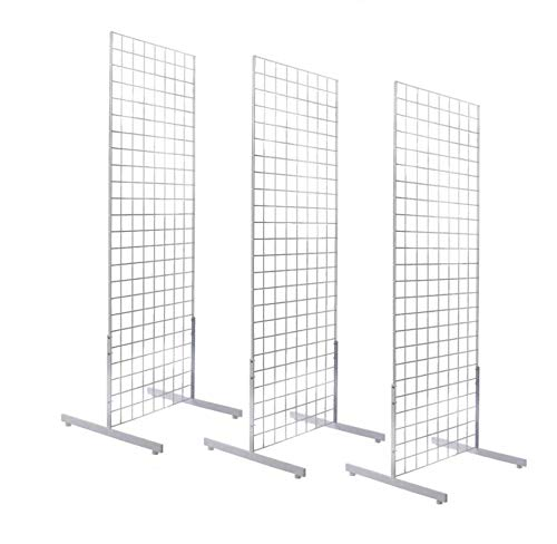 Only Hangers 2' x 6' Gridwall Panel Tower with T-Base Floorstanding Display Kit, 3-Pack White …