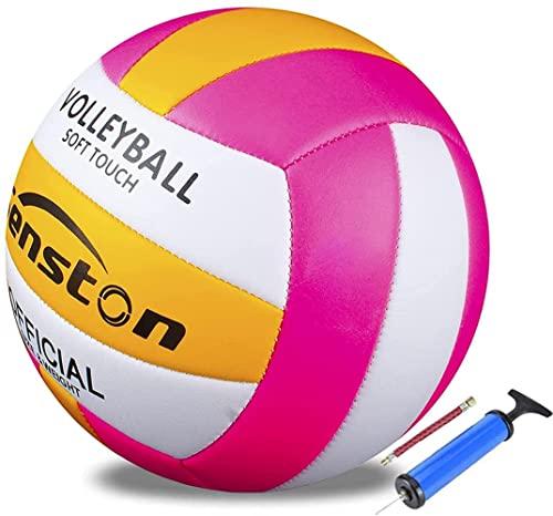 Senstonバレーボール、ビーチバレーボール公式サイズ5、ソフトタッチトレーニングバレーボール屋内および屋外,ピンク