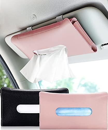 Car Tissue Holder, Visor Tissue Holder for Car, Mask Holder for Car Visor, PU Leather Tissue Box Holder, Wipes Case for Car Visor, Universal Mask Dispenser for Car Napkin Holder for Car Tissue (Pink)