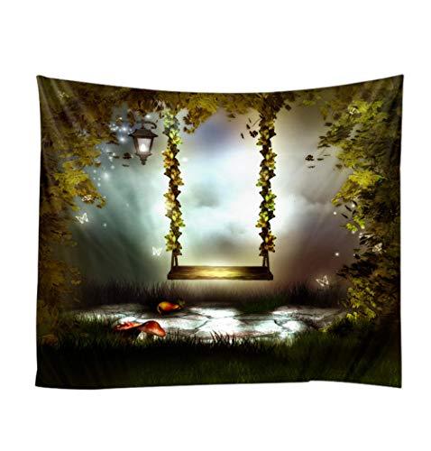 HUOHUOGOU wandbehang mooie plant boom schommelstoel dessin polyestervezel decoratie woonkamer slaapkamer yoga plafond kunst muur 180x230cm
