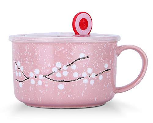 microwavable ceramic mug with lid - 1