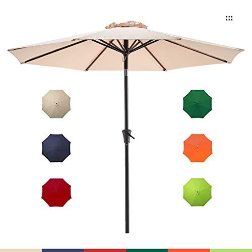 Le Conte 9ft Patio Umbrella Outdoor Market Umbrella Table Umbrellas with Push Button Tilt and Crank (Beige)