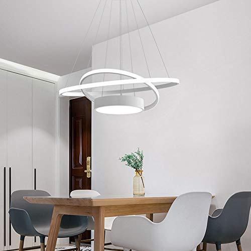 Lampara colgante LED regulable con mando a distancia 40 W lampara de comedor blanco aluminio 2 anillos y redonda lampara colgante altura regulable mesa comedor salon dormitorio Φ60 cm
