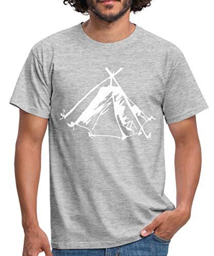 Zelt Biwak Kothe Männer T-Shirt, S, Grau meliert