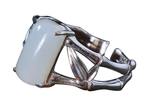 NicoWerk Damen Silberring Jade aus 925 Sterling Silber Breit Bambus Weiß Viereck mit Stein Edelstein Ethno Verstellbar Offen SRI502