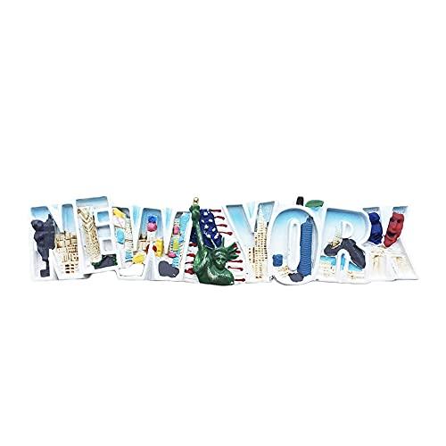 Imán para nevera con letras 3D de Nueva York, hecho a mano para decoración del hogar y la cocina, colección de imanes de nevera de Nueva York