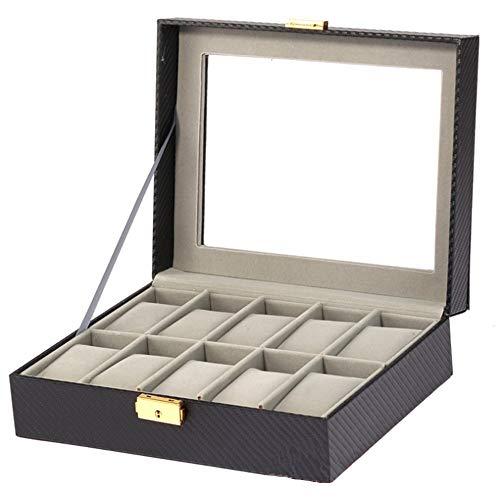 Titular del reloj Caja de reloj de reloj de fibra de carbono Caja de exhibición de joyas 10 Rejilla Reloj de almacenamiento Metal Lock Watch Caja de visualización Caja de embalaje Mostrar caso organiz
