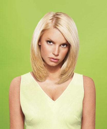 hairdo from Jessica Simpson and Ken Paves 10' Vibralite Synthetic Clip-In Extension, Straight, Ginger Blonde