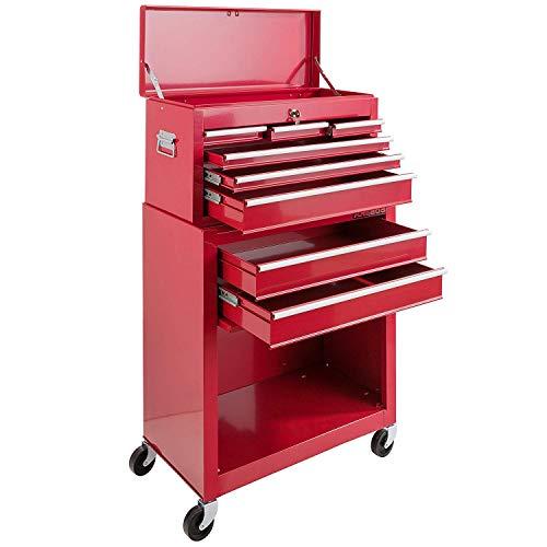Arebos Werkstattwagen 9 Fächer rot (✓ zentral abschließbar, ✓ Abnehmbarer Werkzeugkasten, ✓ Massives Metall) - 3