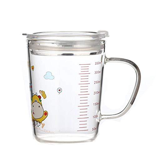 ZHFEL Kinder Cartoon Trinkflasche, Mit Stroh Starke Wärme-beständig Mit Skala Frühstück Kaffeebecher Saft Tasse-Wenig Bär-400Ml