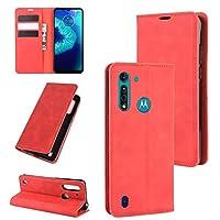 保護ケース Motorola Moto G8パワーライトレトロスキンビジネス磁気サクションレザーケースホルダー&カードスロット&財布 (Color : Red)