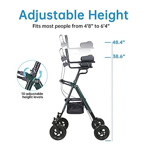 """ELENKER Upright Rollator Walker, Stand Up Rolling Walker with 10''Big PU Wheels and Adjustable Padded Armrests for Seniors from 4'8""""to 6'4"""", Green"""