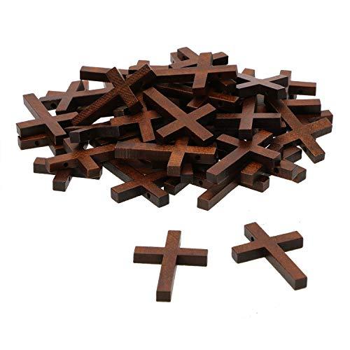 Penta Angel Cruz de madera natural a granel 50 piezas mini colgantes de cruz de madera abalorios colgantes para joyería de joyería para hacer pulseras y collares y manualidades