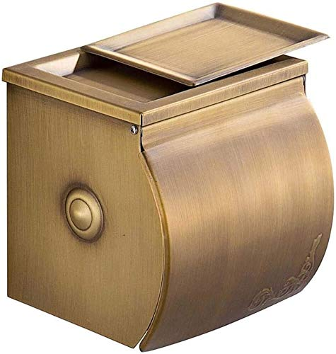 KMILE Caja de Toalla de Toalla Antigua Caja de Tejido Baño Aseo Impermeable Papel de Rollo Retro con cenicero