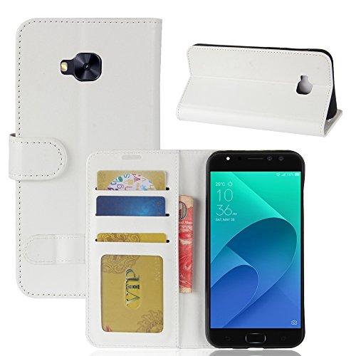 pinlu® Premium Geschäfts Art PU Leder Etui Schutzhülle Für Asus Zenfone 4 Selfie Pro ZD552KL (5.5 Zoll) Lederhülle Flip Hülle Brieftasche Mit Stand Function Innenschlitzen Design Weiß