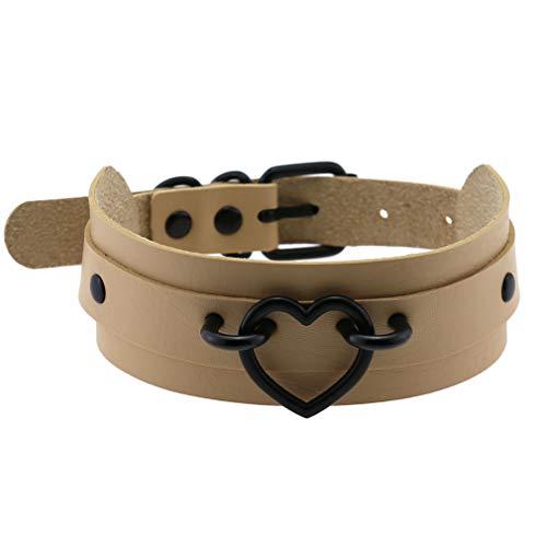 Lederhalskette schlicht Damen Halsband Gr. Einheitsgröße, Nude