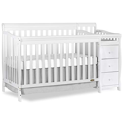 Dream On Me Brody 5-in-1 Convertible Crib and Changer, White
