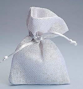 FLM® 50 sacchetti di Juta bianchi per bomboniere confetti compleanni matrimonio stile shabby chic