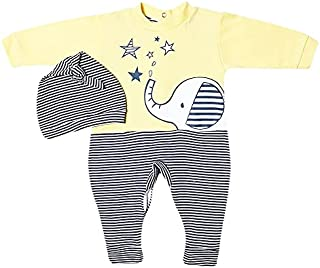 papillon Bodysuit printed elephant with hat for boys-0/3m-yellow