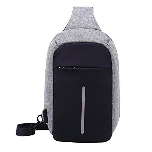 ABBY Nouveau sac de poitrine pour hommes anti-vol Sac serviette à glissière invisible Porte-bagages Messenger/Gris