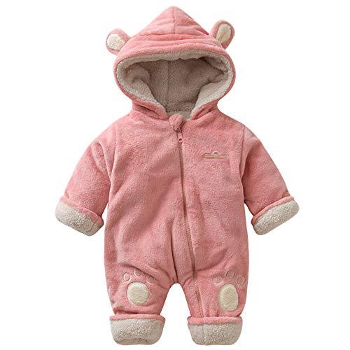 ZHOUZJ Bebé con Capucha Fleece Romper Traje para la Nieve Mono Infantil Trajes, para Bebé niña,otoño Invierno,Rosado,80cm