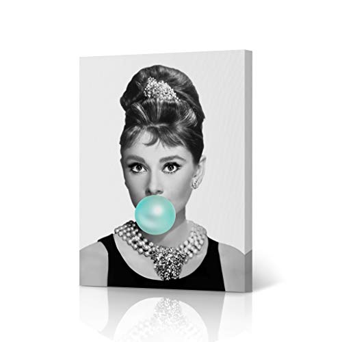HB Art Design Pretty Audrey Hepburn Teal Blue Bubble Gum Chewing Gum Black and White Portrait Iconic Pop Art Canvas Wall Art Print Office Living Room Bedroom Modern Home Decor Ready to Hang - 12x8