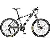 BNMKL Mountain Bike Unisex, 24/26/27,5 Pulgadas 21/24/24/30 Velocidad Bicicleta De Velocidad para Adultos, Frenos De Doble Disco,Rueda De Radios Bicicleta Plegable Adulto,Blanco,27.5 Inch 30 Speed