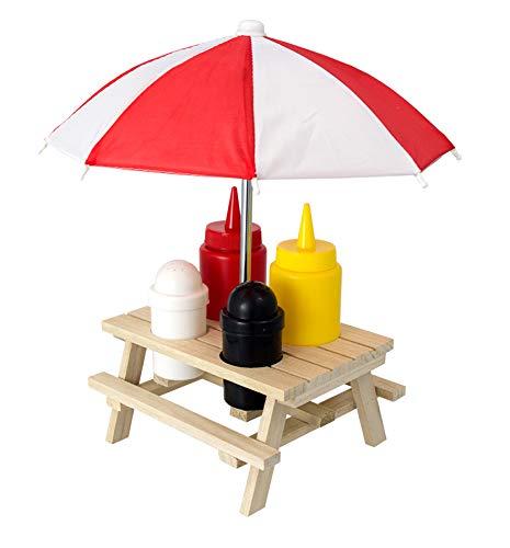 MIK Funshopping Menage-Set, Ständer für Senf & Ketchup-Spender, Salz- & Pfefferstreuer, Grillzubehör für die Grill-Party (Picknicktisch mit Sonnenschirm)