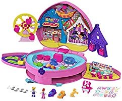 ​Polly Pocket Tiny is Mighty Theme Park Backpack Compact with Adjustable Straps, 2 Micro Dolls, Ice Cream Cart & Rides...