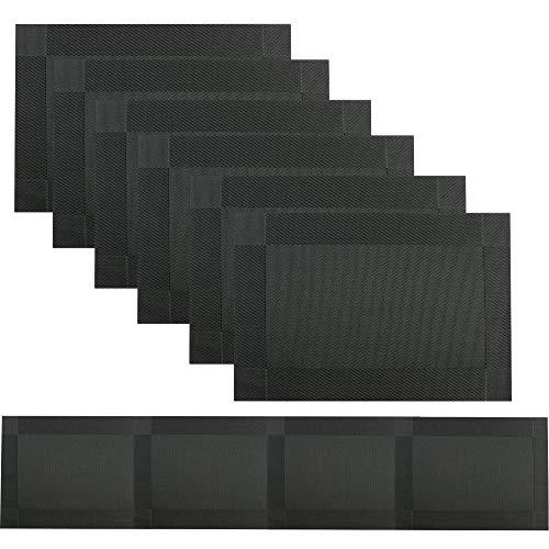 Famibay PVC Tischläufer und Platzsets 6er Set Abwaschbar Hitzebeständig Vinyl Tischsets mit Passend Tischsets für Küche Tisch