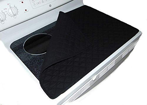 ANGECA Stove Top Cover and Protector for Glass, Ceramic Cooktop - Durable Quilted Fabric - Color Black