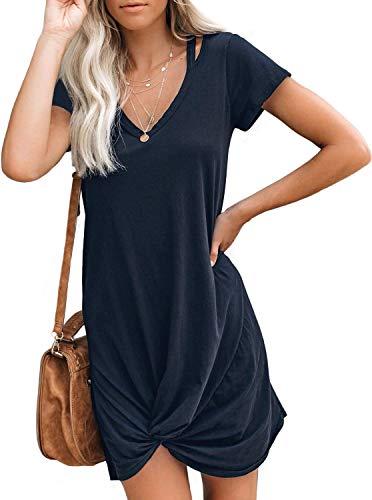 Berryou Women Casual Dresses V Neck Short Sleeve Front Tie Twist Summer T Shirt Mini Dress (Medium,Navy)