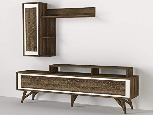 Alphamoebel 4807 Rosso Wohnwand modern TV Lowboard Anbauwand Mediawand, Walnuss Weiß, Holz, großes Hängeregal, Designerstück, für Wohnzimmer, viel Stauraum, Ablageflächen, 180 x 62,5 x 30 cm