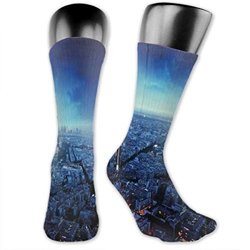 vnsukdlfg Compression Medium Calf Socks,Skyline At Sunset France European Parisian Landmark Travel Destination Monochrome