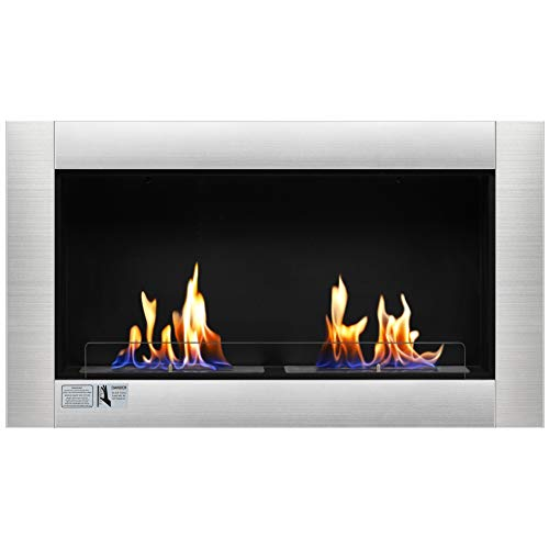 """Antarctic Star 37"""" Fireplace Ventless Built in Recessed Bio Ethanol Fireplace Safety Glass Indoor Wall Mounted Gas Logs"""