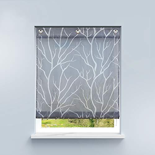 HongYa Raffrollo ohne Bohren Transparente Raffgardine Voile Ösenrollo Küche Kleinfenster Gardine mit Hakenösen Äste Muster H/B 140/100 cm Grau