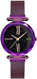 Smart Watch 308 Ladies Simple Starry Sky Dial Magnetic Buckle Mesh Belt Quartz Watch(Black) (Color : Purple)