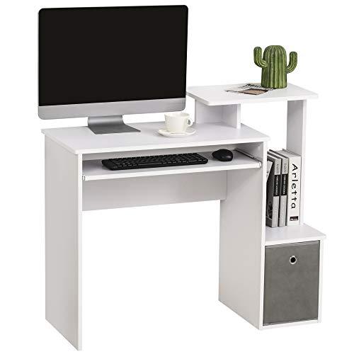 HOMCOM Computertisch, Schreibtisch, Bürotisch, Gamingtisch, PC-Tisch mit Tastaturablage, Schublade, E1 Spanplatte, Weiß, 100 x 40 x 86,6 cm