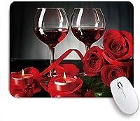 NINEHASA 可愛いマウスパッド ブラックローズワインバンケットフローラルブルーミングフラワーロマンチックな恋人たちの美しさエレガントなバレンタインデーフレンチスタイルの