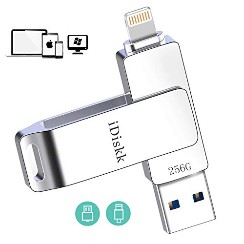 iDiskk MFi Certificat 256 GB Lightning USB Stick für iPhone Speicher Photo Memory Stick für iPad Speichererweiterung Kompatibel mit iPhone 11 Pro/X/XS/XR / 5/6/7/8 Mac PC