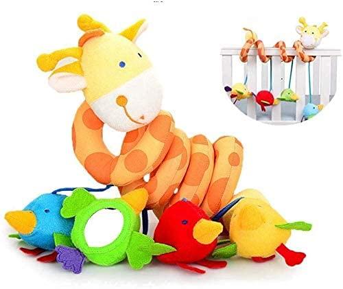 Babyschale Spielzeug, Baby Activity Spirale Kette Kinderwagen Spielzeug Mädchen Junge Spirale Kinderwagenkette mit Klingelglocke zum Aufhängen an Kinderwagen, Babyschale, Kinderbett (Giraffe)
