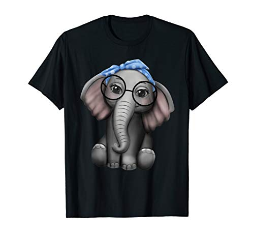 Elefant Nerd Brille Kopfband Kleidung Geschenk Elefanten T-Shirt