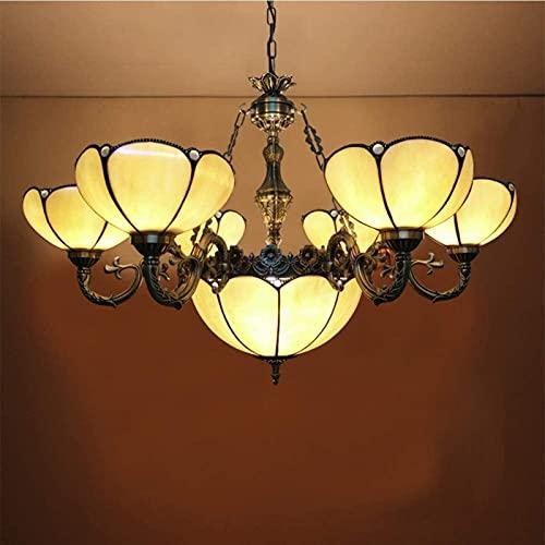 ETRVBSWE Grandes candelabros Tiffany, lámpara Vintage Amarilla con Forma Floral para Dormitorio de niños, Girasol, Medio, Dibujo a Mano, Techo, 8 Cabezas, lámpara de araña (tamaño: 14 Cabezas)