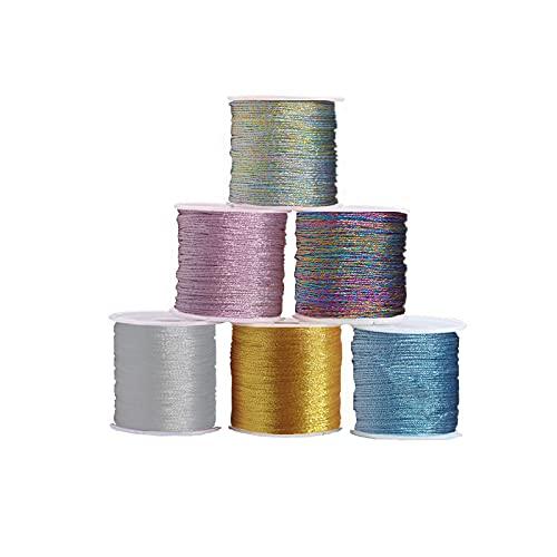 Ylinwtech 6 Rotoli Metallici Fili,Cavo per Gioielli,Corda Artigianale Fai-da-Te,per la Creazione di Gioielli,Artigianato Fai-da-Te,Bracciali,Confezioni Regalo(0.6mm*34m)