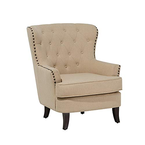 Klassischer Sessel Polsterbezug Ohrensessel Chesterfield Style Beige Viborg II