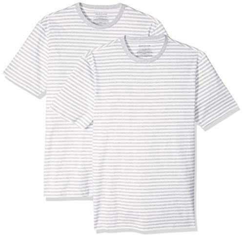 Amazon Essentials Herren T-Shirt Slim-Fit Kurzarm 2er-Pack Streifen Rundhalsausschnitt, Grau(Light Grau Heather/White), US L (EU L)