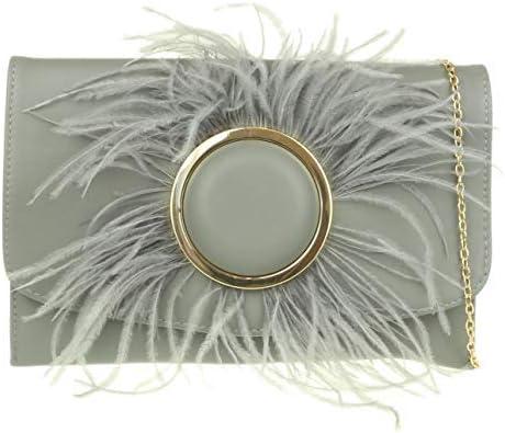 Girly Handbags Fluffy Button Clutch Bag Grey