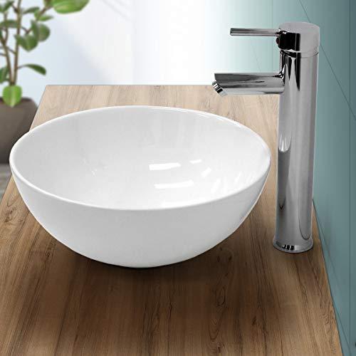 ECD Germany Waschbecken Waschtisch - Ø 320 x 135 mm - aus Keramik - Rund - Weiß - Aufsatzbecken Aufsatzwaschbecken Waschschale Handwaschbecken Aufsatzwaschtisch Spülbecken Wasserfall Waschchlüssel