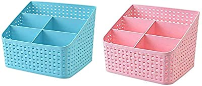 Asuvi Plastic Storage Basket, Office Desk Organizer and Kitchen Storage Box(Size - 20 X 17.5 X 15 cm) Set of 2 Piece